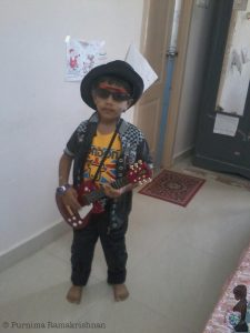 Dressed up as a 'rockstar' in one of the preliminary rounds of the Fancy Dress Competition.