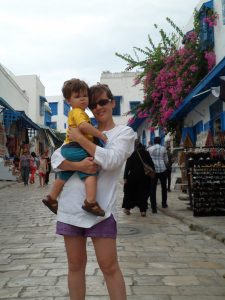 Natalia and her son in Tunis.