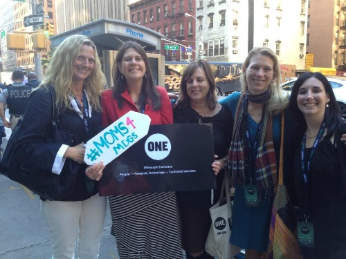 #Moms4MDGs! World Moms Blog editors, Elizabeth Atalay, Jennifer Burden & Nicole Melancon pose with the ONE Campaign's Jeannine Harvey just before heading into UN Headquarters.