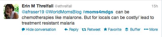 #Moms4MDGs Erin Threlfall Malaria