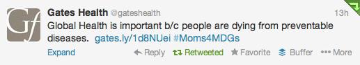 Gates Health #Moms4MDGs Global Health Tweet