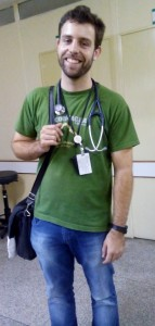 Dr. Rodrigo D'Aurea leaving for the day after giving us a tour of the clinic and the community