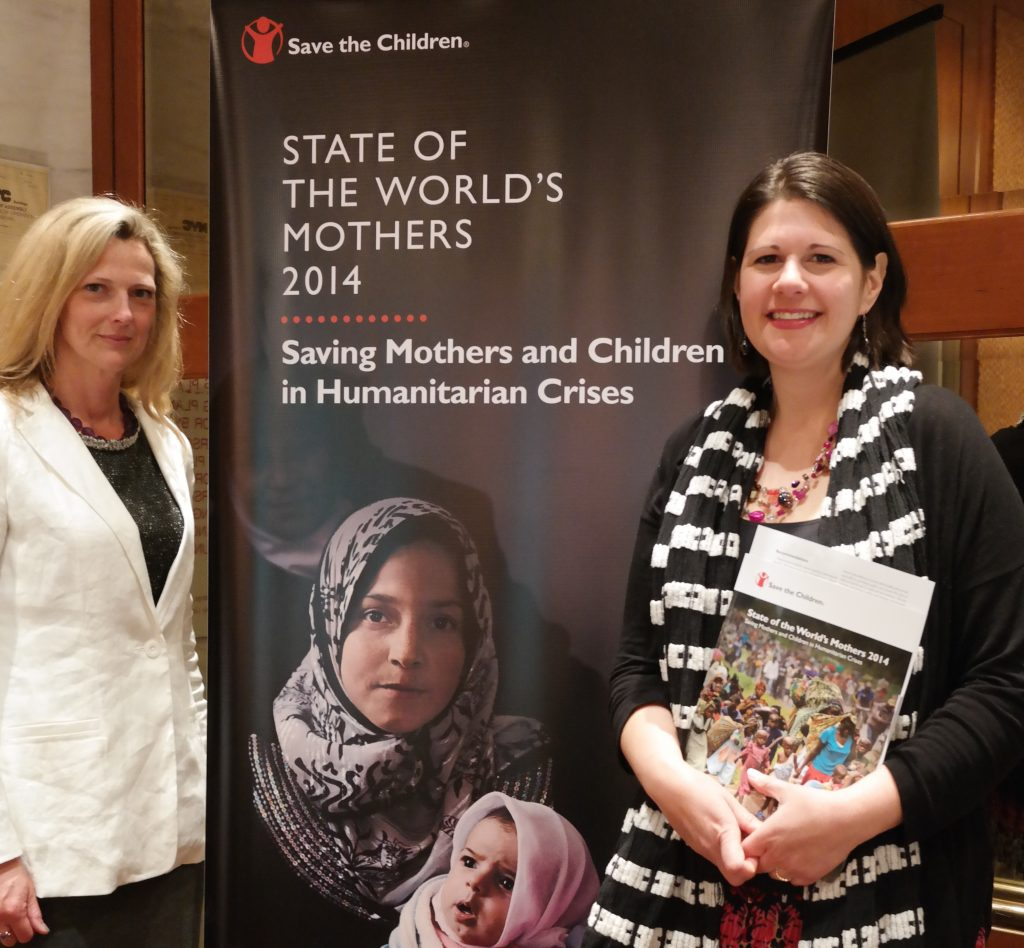 World Moms Blog Founder Jennifer Burden and Senior Editor Elizabeth Atalay at the State of the Worlds Mothers report launch in NYC.