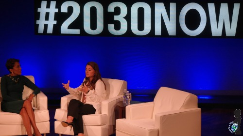 Melinda Gates being interviewed at the Social Good Summit in New York City on September 22, 2014.
