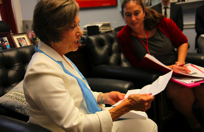 U.S. Representative Jan Schakowksy of Illinois reads a letter from Cynthia's children about supporting global child survival programs.