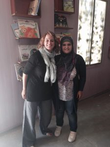 World Mom, Jackie Jenkins, with Iman Alkhaldi, the Librarian.