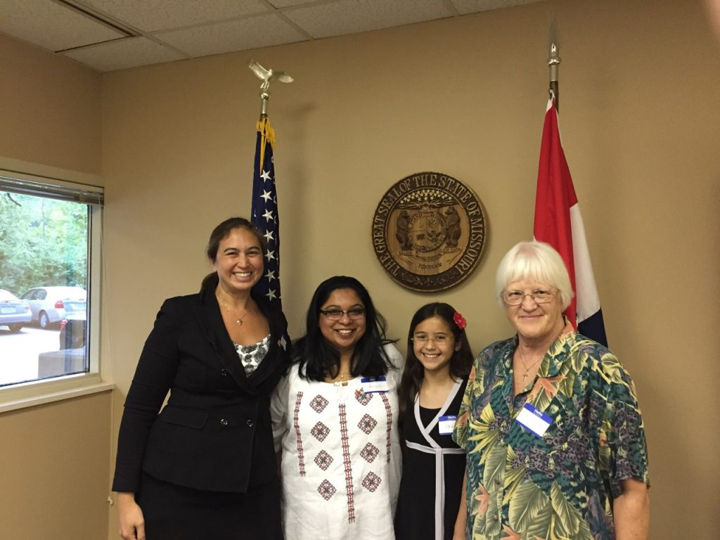 Cindy Levin at Representative Ann Wagner's office with her daughter and volunteers from RESULTS and the United Methodist Church asking the Congresswoman to co-sign the Reach Act Photo Credit: Cynthia Changyit Levin