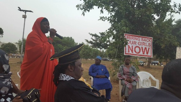 World Mom, Aisha Yesufu, speaks as activists gather in Abuja continuing to demand the rescue of the 219 Chibok Girls captured in April 2013 in Nigeria.