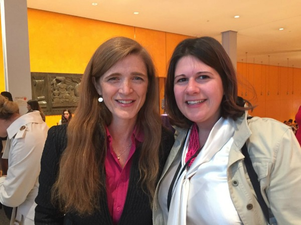 US Ambassador to the UN, Samantha Power with Jennifer Burden, Founder and CEO of World Moms Blog, at Moms + SocialGood in NYC May 5th, 2016.