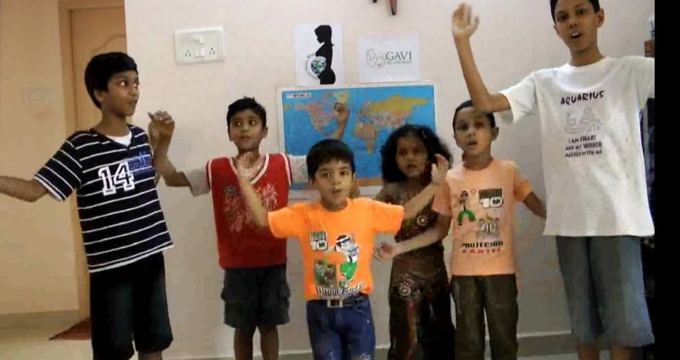 """We want a disease-free world,""the children chorus."