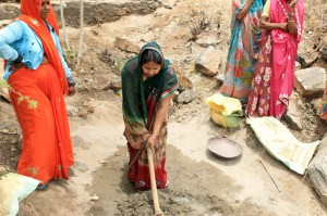Mrs. Anita Paliwal working on the Water Harvesting Structure