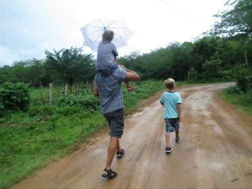 Dad Walking with Kids