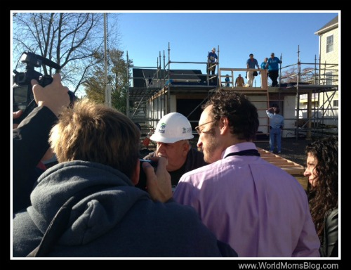 Mr. Lamberson is interviewed by the Press on the Carter's worksite.  That's his home in the background being rebuilt after Super Storm Sandy damaged it almost one year ago.