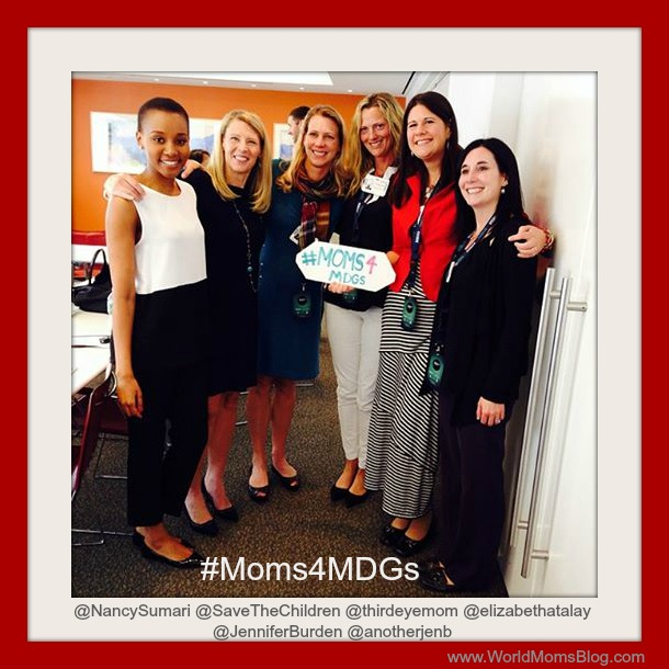 #Moms4MDGs -- Nancy Sumari, Carolyn Miles, CEO of Save the Children, Nicole Melancon, Elizabeth Atalay, Jennifer Burden and Jennifer Barbour just after a discussion on children refugees from the Syrian conflict. September 23, 2013 in NYC.