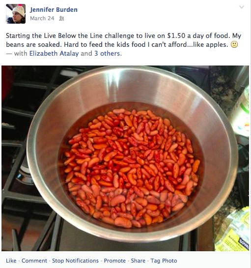 Live Below the Line Facebook Status 1