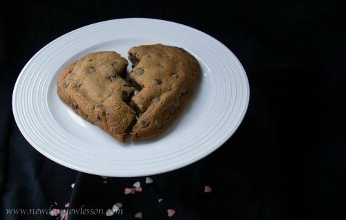 broken heart chocolate chip cookie