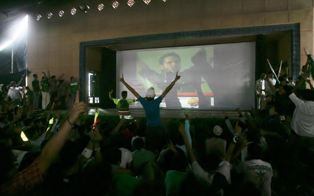 This is a movies theater in Karachi, Pakistan where cricket is telecast during the cricket season.