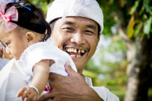 An Indonesian father with child