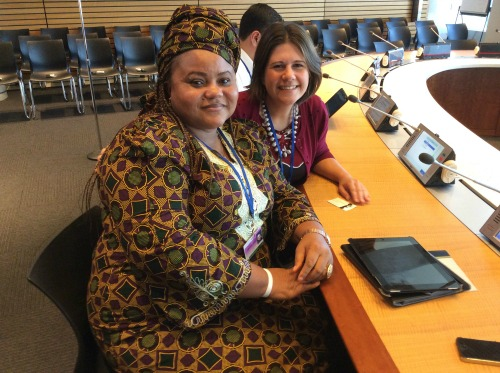 Faith Nwadishi came all the way from Nigeria for the World Bank's Civil Society Meetings in Washington, DC. Pictured here with Jennifer Burden of World Moms Blog on October 8th, 2014.