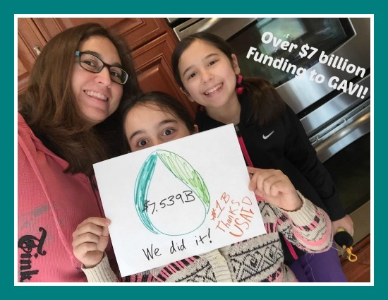 In Missouri, USA, World Mom and activist, Cindy Levin, celebrate the importance of pledged funding to the GAVI Alliance for global vaccination programs for children.
