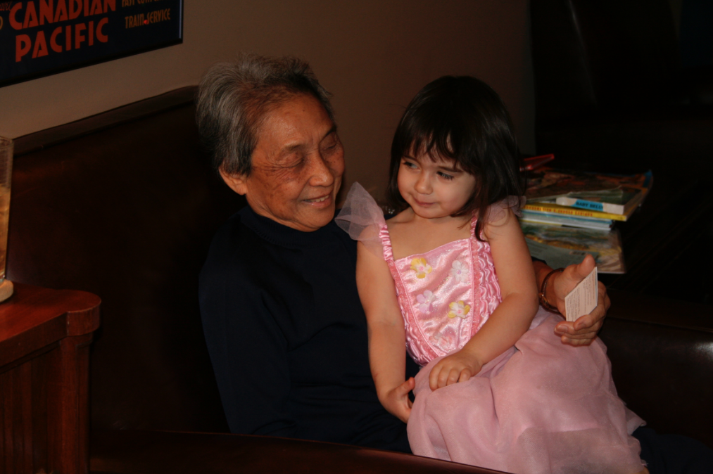 """"""" 'Aunt Cynthia' with the author's daughter. Photo by Cynthia Changyit Levin"""""""