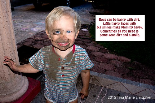 Boy smiling with dirty face