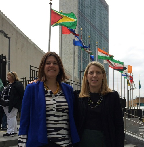 Jennifer Burden, Founder of World Moms Blog with Carolyn Miles, President and CEO of Save the Children at the United Nations, April 30, 2015.
