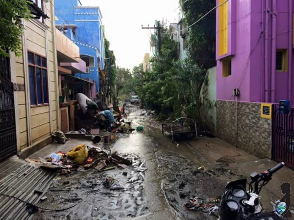 Sedimentary debris left behind by flood waters in Chennai, India.