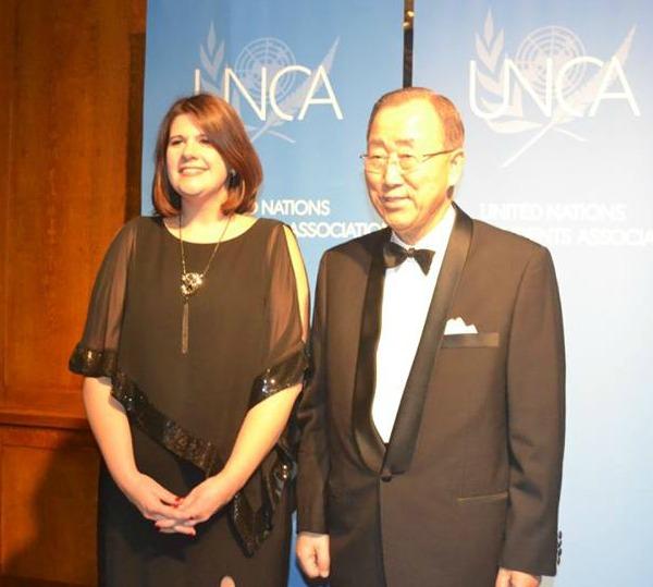 Jennifer Burden and Ban Ki Moon 2015UNCA 2 600