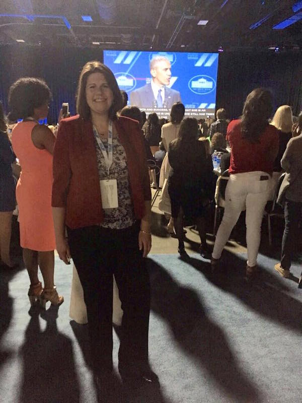 Jennifer Burden proud to be listening to US President Barack Obama speak live at the State of the World's Women Summit on June 15, 2016.
